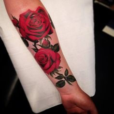 Bilderesultat for rose lace tattoo Colorful Rose Tattoos, Red Flower Tattoos, Black Rose Tattoos, Brown Tattoos, Rose Tattoo On Side, Rose Tattoo Forearm, Lace Tattoo, Tattoo Roses, Side Tattoos