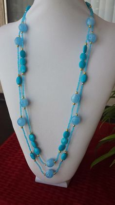 Handmade necklace, long beaded necklace, gift for her, aquamarine, ocean blue, fashionable necklace, stylish, classy, handmade