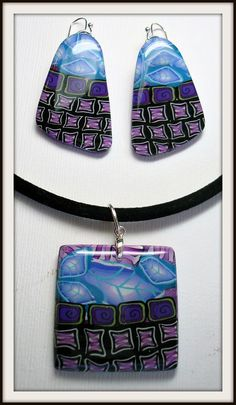 Mosaic abstract Leaf Pendant , polymer clay.