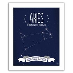 This unique Aries print is a rich deep blue makes the white lettering and graphic zodiac constellation special. Daring • Courageous • Energetic * Vibrant • Strong • Quick-Witted ◆ Purchase is for prin
