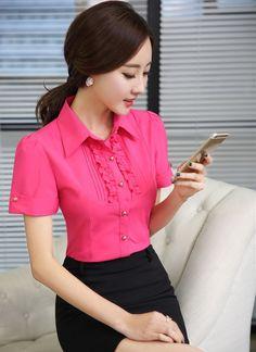 BLUSAS MANGA CORTA COREA - Buscar con Google Blouse Styles, Blouse Designs, Ladies Shirts Formal, Moda Zara, Dress Patterns, Shirt Blouses, Blouses For Women, Korean Fashion, Designer Dresses