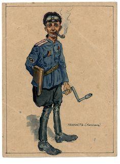 Armées blanches - White armies - Capitaine d'une unité de chars 1919. Par Victor Gebauer