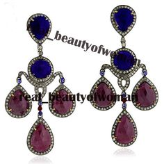 Edwardian Handmade 5.35c Rose Cut Diamond Ruby Sapphire Wedding Earrings Dangler #realbeautyofwoman