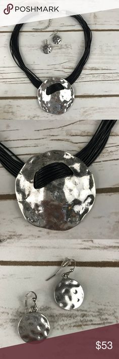 "Silver & Black multi strand Necklace & Earring Set Necklace & Earring / Burnished Silver tone / black cord / lead & Nickel compliant / Metal / Fish hook (Earrings) / multi strand / Round   Length 17"" + Ext Pendant 2 1/4"" Dia Earring 1 1/8"" x 1 1/4"" B.Silver / Black joyamarino Jewelry Necklaces"