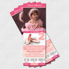 BALLET TICKET INVITATIONS Ballerina Birthday Party or Dance Recital - (print your own). $9.00, via Etsy.