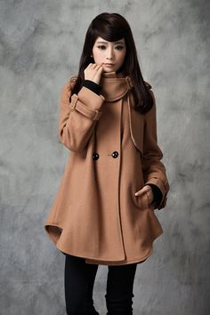 Wool Coat Jacket for Women Winter Coat - Tan -Dress - Cusom Made.via Etsy.