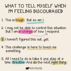 What to tell myself when I am feeling discouraged. The Words, Great Words, Feeling Discouraged, Positive Self Talk, Positive Quotes, Life Journal, Bullet Journal, Emotional Intelligence, School Counseling