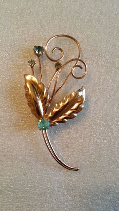 Vintage Brooch Delicate Beauty Rose Gold Swirls and Leaves Unsigned Coro?  #Unbranded