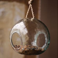 Recycled Round Glass Hanging Bird Feeder $49