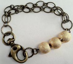Bronze Chain Bracelet Gold Stardust Bracelet by LeeJewelryCo