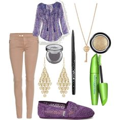 """""""khaki pants and purple toms with gold"""" by lovehamly on Polyvore"""