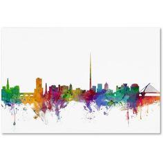 Trademark Fine Art Dublin Ireland Skyline Canvas Art by Michael Tompsett, Size: 16 x 24, Multicolor