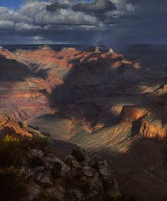 """There are few plein air painters who capture the Grand Canyon better than Curt Walters.  After our monsoon rains this past week and hopefully more coming in Arizona, this is a beautiful painting called """"Star of the Storm.""""  Another one that I'd like to find a way to """"fit in my purse.""""  LOL!   <3"""