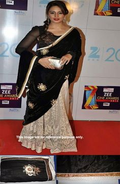 Designer Net with Velvet Black and Beige Brown Bollywood Saree Bollywood Sarees Online, Huma Qureshi, Sari, Velvet, Beige, Brown, Black, Fashion, Saree