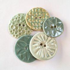 Handmade Sage Green Porcelain Button Assortment by carolmilich