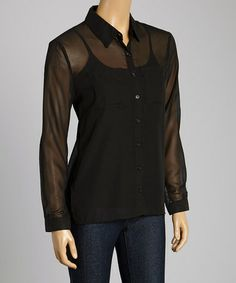 This Black Hi-Low Button-Up Top - Women is perfect! #zulilyfinds