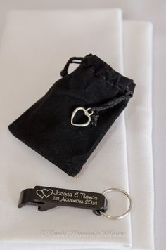 Wedding Photographer - Candid Photos of a Lifetime  A velvet pouch with a personalised keyring / bottle cap opener makes a very versatile wedding favour / bonbonniere