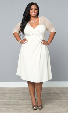 Our plus size Sugar and Spice Dress is a fun and out-of-the-box white option for your bridal shower.   www.kiyonna.com  #KiyonnaPlusYou  #MadeintheUSA  #Wedding