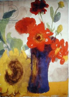 Red Flowers in Blue Vase and Yellow Sunflower (w/c on paper)