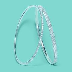 Tiffany Metro diamond bangles in 18k white gold. #TiffanyPinterest