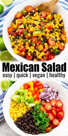 This Mexican salad with cilantro lime dressing is healthy and delicious at the same time! The recipe couldn't be much easier and it's packed with nutrients. Mexican Salad Recipes, Mexican Salads, Vegetarian Salad Recipes, Vegan Lunch Recipes, Vegan Dinners, Veggie Recipes, Cooking Recipes, Vegan Lunch Healthy, Quick Salad Recipes