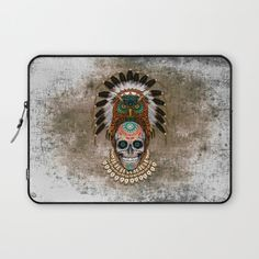 indian native Owl sugar Skull Laptop Sleeve Laptop #LaptopSleeve #laptop #ALineDresses #clothing #tshirt #thedayofthedead #mexico #sugarskull #mexicoskull #horror #pattern #love #popart #indian