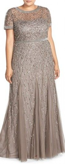 Plus Size Women's Adrianna Papell Beaded Gown
