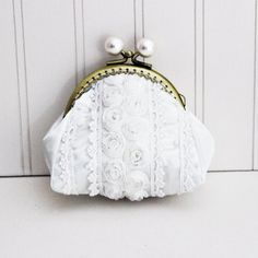White Lace Small Coin Purse by AzureaStudio on Etsy