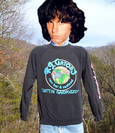 vintage sweatshirt 80s RJ GATORS florida neon by skippyhaha