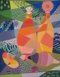 Abstract/Cubism still life painting with line designs.