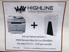 We have an amazing offer on a printer and shredder bundle at - we are at stand - pop by to discuss! Office Printers, Epson, How To Apply, Technology, Amazing, Tech, Tecnologia