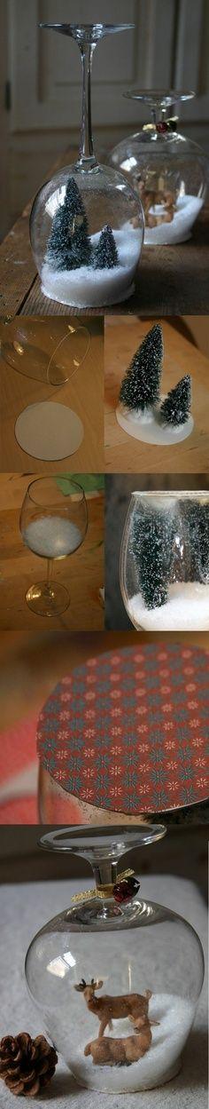 DIY Christmas gift - Wine glass snowglobe! Add any ornament you wish!