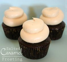 Salted Caramel Frosting (put this on dark chocolate cupcakes! Icing Recipe, Frosting Recipes, Cupcake Recipes, Cupcake Cakes, Dessert Recipes, Homemade Frosting, Frosting Tips, Macaron Recipe, Cup Cakes