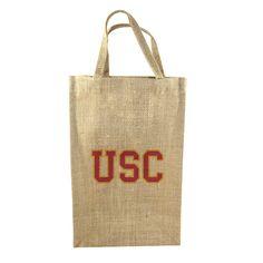 USC two bottle burlap tote