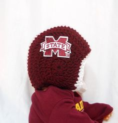 Mississippi State Bulldogs Crochet Baby Football Helmet Hat and Diaper Cover Set - 0-3 Months, 3-6 Month Sizes