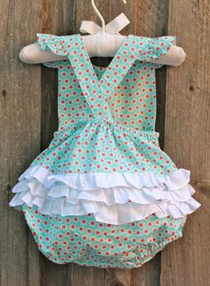 Turquoise Daisy Ruffle Bubble from Smocked Auctions
