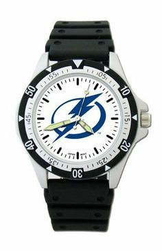 """Tampa Bay Lightning NHL Men's Option Watch by Logo Art. $25.96. Tampa Bay Lightning NHL logoCase is 1 1/2"""" wide, dial diameter 1""""Strap is 8 inches longWater resistant man's sport watchBlack ABS plastic resin case and stainless steel snap backRotating ABS bezel and acrylic crystalBlack polyurethane rubber strap with stainless steel buckleMiyota® quartz movement (377 battery)Stainless steel crown, luminous handsLimited lifetime warranty on watch"""