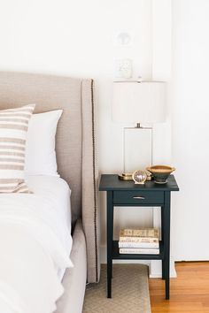 Love this bed Fram color so much right now! Tour this light filled home on The Every Girl with pretty little details.