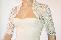 White Knit Shrug//Wedding Bridal Bolero Shrug Lace Crochet Shrugs Boleros White Cotton