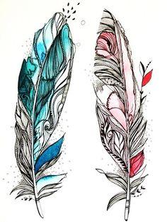 Перо: эскизы и татуировки