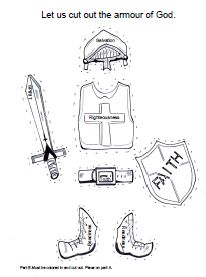 Armour of God Sunday school lesson, crafts and coloring