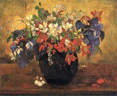 Um vaso com flores, 1896 Paul Gauguin - National Gallery, em Londres Esta pintura foi feita no Taiti após a saida final de Gauguin da França. Foi vendida por seu amigo Daniel de Monfried em 1898 para Degas, que foi um dos primeitos admiradores da arte de Gauguin. Pinturas de flores eram comuns entre os pintores desse período; Degas e Van Gogh estão entre os maiores expoentes do tipo. http://sergiozeiger.tumblr.com/