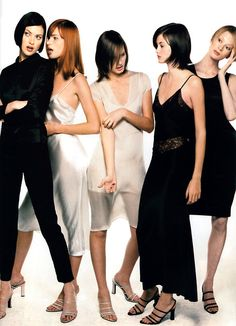 '90S FASHION | Steven Meisel for American Vogue, January 1995. Clothing by Calvin Klein.