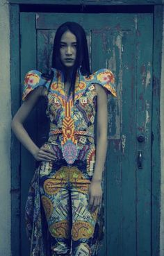 Shanghai-based designer Sabine Ducasse. 'Melting Pot' Collection. Spring/Summer 2012. Kaleidoscopic patterns, made with Perler beads.