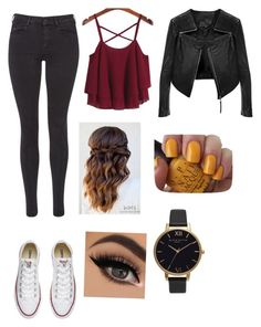 """""""Untitled #946"""" by catrinel-grigorescu on Polyvore featuring Maison Scotch, Converse, Linea Pelle, OPI and Olivia Burton"""