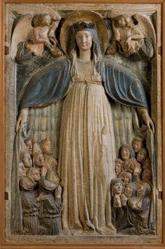 Cenacolo di Santo Spirito - Fondazione Salvatore Romano - Firenze - SCULTORE TOSCANO - Madonna della Misericordia - XV sec. - pietra policromata