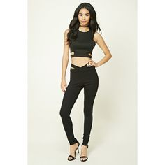 Forever21 Crisscross Cutout Leggings ($16) ❤ liked on Polyvore featuring pants, leggings, black, forever 21 pants, legging pants, forever 21 leggings, cut-out leggings and forever 21