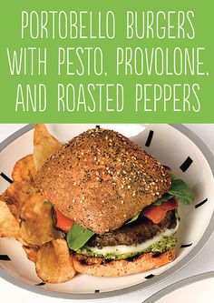 Tasty Hamburger Alternatives That Are Actually Good For You: Portobello Burgers with Pesto, Provolone and Roasted Peppers.