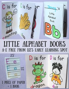 Grab these free (A-E) little alphabet books. Just one page will give your child an 8-page booklet for tracing letters and colouring!