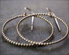 Thin silver beaded wire hoop earrings